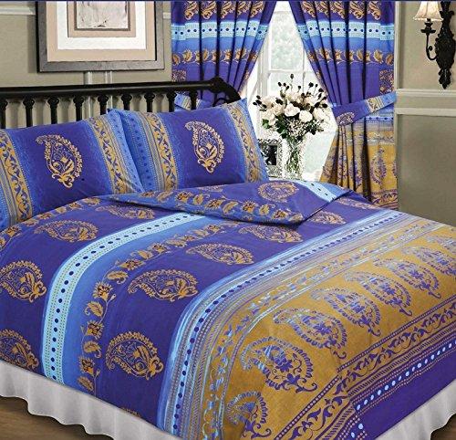 Kashmir Blue, Double Bed Duvet / Quilt Cover Set, Ethnic Asian Indian Floral Dots Print, Navy Sky Blue Purple Metallic Gold, Superior Quality 68 Pick Fabric