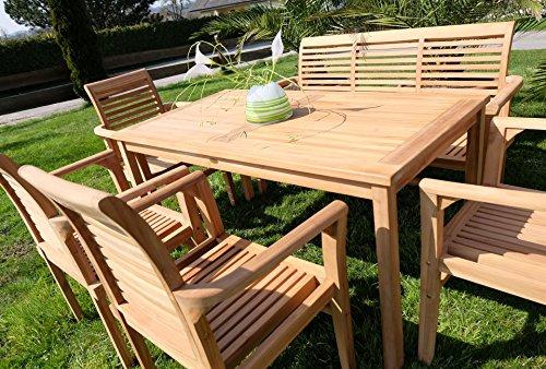 Edle TEAK XXL Gartengarnitur Gartenset Sitzgruppe Gartenmöbel TISCH + 1 Bank + 4 Sessel 'ALPEN' Holz geölt von AS-S - 4