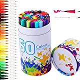 LYL-1 60 Farben Pinselstift Set mit Zwei Spitzen (0.4mm-2mm) – Wasserfarben Effekt, Aquarell Dual Brushpens Marker Pen with Fineliner Tip Ideal für Kalligraphie, Manga Comic Zeichnen, Art Marker