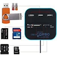 XBOSS N7 USB Hub 2.0 480Mbps USB Combo Card Reader All in One Multi USB Splitter for MS, M2, SD/MMC, TF Portable for PC Laptop Smart TV Game and ETS