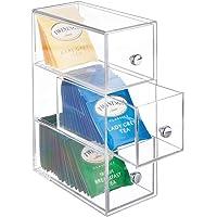 mDesign rangement de cuisine à 3 tiroirs – boîte à tiroirs en plastique idéale comme rangement à thé – boîte de…