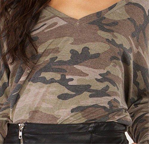 szivyshi Moda Esercito Militare Camo Camuffare Stampato V sul Retro Scollo a V a Maniche Lunghe T-Shirt Maglietta Tee Top Verde Verde