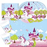 37-teiliges Party-Set Einhorn - Unicorn - Teller Becher Servietten Tischdecke für 8 Kinder