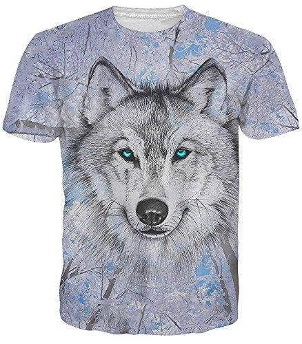 Adicreat Männer Frauen Drucken Wolf Kurzarm Atmungsaktiv T-Shirt Hemd Plus Größe -
