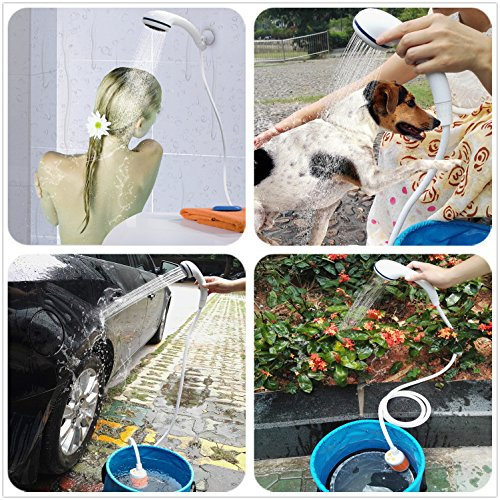 61Iiv2ZXboL. SS500  - Portable Shower Electric Shower Camping Shower Built-in 4800mAH Rechargeable Battery and with Shower Head Shut OFF Valve