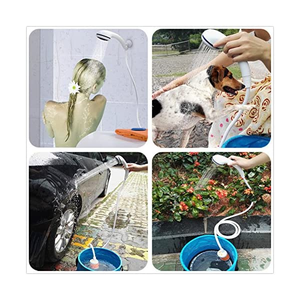 Portable Shower Electric Shower Camping Shower Built-in 4800mAH Rechargeable Battery and with Shower Head Shut OFF Valve