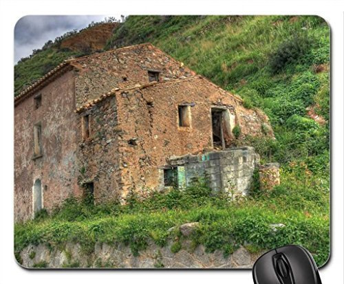 abandoned-stone-house-by-a-mountain-road-mouse-pad-mousepad-houses-mouse-pad