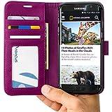 S7 Edge Coque, Abacus24-7 Galaxy S7 Edge Etui Portefeuille en Cuir écologique avec Poches pour Carte d'identité ou Bancaire - Samsung Galaxy S7 Edge Coque, Violet