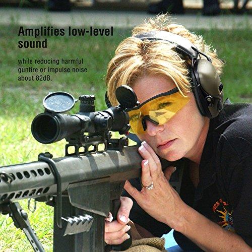 Protector auditivo electrónico GF01 de Awesafe para la caza y el tiro al blanco,  con reducción de ruido y amplificación de sonido con seguridad electrónica,  protección auditiva con un nivel de reducción de ruido (NNR) de 22 dB. Ideal para la caza y el tiro al blanco (color verde clásico).