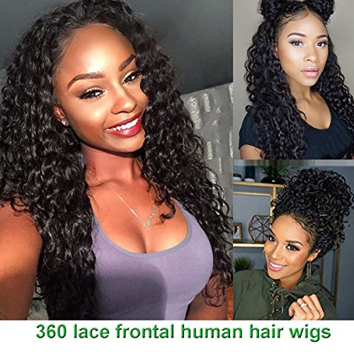 Giannay Hair Pre Plucked 360 Lace Frontal Wig 150% 180% 250% Density Curly 8A Brazilian Virgin Human Hair 360 Lace Wigs with Baby Hair Natural Hairline for Black Women ( 14 Inch 150 Density )