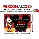 wow party studio personalized mickey mouse theme birthday party invitation cards with birthday boy/girl name -16 pieces- Mult