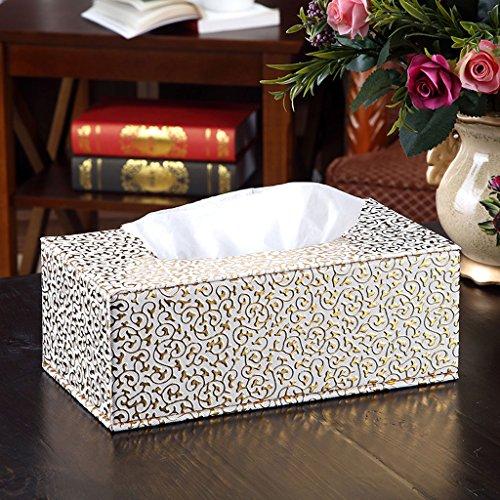 Tücherboxen ZQG Jazz Europa Und Amerika Stil Tissue Box Kreativität Tee Maschine Hand Papier Box Haushalt Wohnzimmer Leder Hand Arbeit Pumpen Karton Serviettenkarton (Farbe : Golden Flower on White)