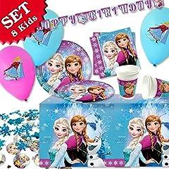 Idea Regalo - LA REGINA DI GHIACCIO - KIT di compleanno per la decorazione ,45 pezzi per fare il compleanno della bambina più famoso anche di una party a tema delle ragazze, ragazza, per 8 bambini