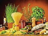 Artland Qualitätsbilder I Glasbilder Deko Glas Bilder 80 x 60 cm Ernährung Genuss Lebensmittel Gemüse Digitale Kunst Bunt D3BK Nudeln Käse Kräuter Gewürze