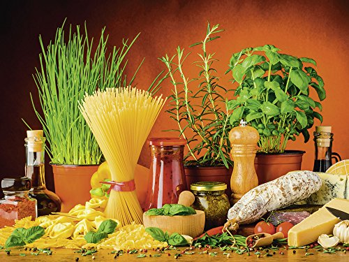lder I Glasbilder Deko Glas Bilder 80 x 60 cm Ernährung Genuss Lebensmittel Gemüse Digitale Kunst Bunt D3BK Nudeln Käse Kräuter Gewürze ()