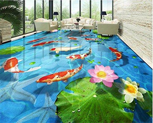 Tappeto Lotus Lotus pavimentato Tappeto Tappeto 3D Pavimento Piastrelle Papel De Parede Wallpaper per pareti 3D Photo Paper Papier Peint, 140X70Cm