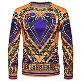 Zolimx Langarmshirts Casual Herren Herbst Winter Retro 3D Print Pullover Langarm Dashiki O-Ausschnitt Sweatshirt Top
