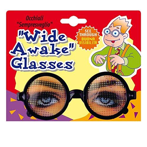 Amakando Brille mit Augen Dauerwach Spaßbrille Funbrille Scherzartikel Workaholic Scherzbrille Gag Partybrille Party Faschingsbrille