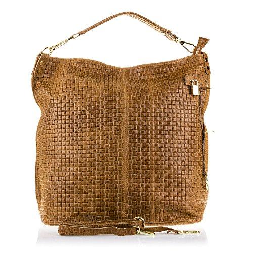FIRENZE ARTEGIANI.Bolso Shopping Bag de Mujer Piel auténtica.Bolso Cuero Genuino Acabado Grabado...