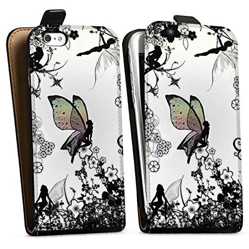Apple iPhone SE Silikon Hülle Case Schutzhülle Elfe Fee Schmetterling Downflip Tasche schwarz