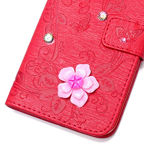 iPhone 6 6S Hülle,iPhone 6 6S Case,Cozy Hut ® Ultra Slim Flip Lederhülle / Ledertasche / Hülle / Case / Cover / Etui / Tasche für iPhone 6 6S (4,7 Zoll) / 3D Diamant Strass Bling Glitzer Schmetterling Rote Butterfly flowers