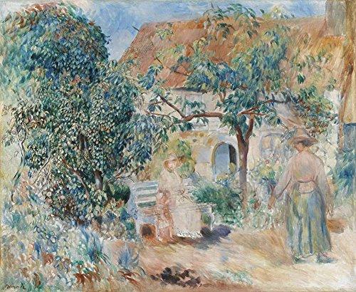 Pierre-Auguste Renoir - Im Garten In Der Bretagne Leinwandbilder Reproduktionen Gerollte 75X90cm - Menschen in der Landschaft Gemälde Komplett Texturiert 3D Gedruckt Wandkunst für Wohnzimmer