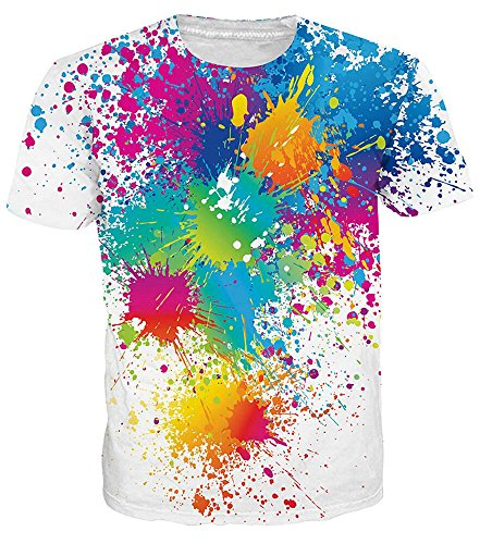 Idgreatim women men 3d stampato estate casual manica corta t-shirt o-collo tees colorate