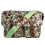 Miss Lulu Damen-Schultertasche, Messenger Bag, Retro-Stil, Eulen, Bäume, Schmetterling, Wachstuch, Grün Eulen,