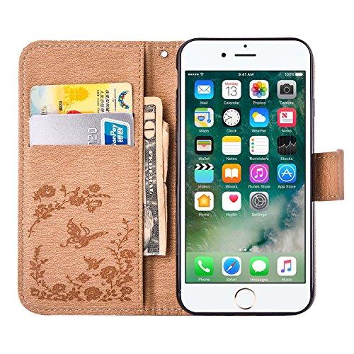 MOONCASE iPhone 7 Plus Étui, Fleur Papillon Imprimer Gaufrage Faux Brillant Diamant Strass Bookstyle Housse en Cuir rabat Case avec Porte-cartes Fentes Portefeuille Béquille Magnétique Fermeture pour  Doré