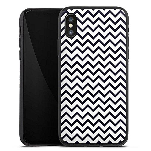 Apple iPhone X Silikon Hülle Case Schutzhülle Zickzack Muster Streifen Silikon Case schwarz