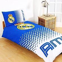 Oficial Equipo De Fútbol Reversible funda de edredón y funda de almohada Set (varios clubes a elegir.), Real Madrid FC, edredón para cama individual
