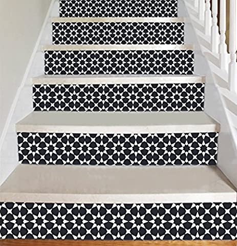 Wallpaper Strips (Moroccan Style) for Stair Risers/ Stair Steps - Peel and Stick - Self Adhesive - Home Decor DIY - Pack of 5 Strips (Step Height 7