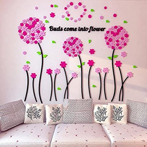Romantique fleurs 3D Crystal Stereo Wall Stickers Relief Living Room TV Fond Wall Stickers Décorations murales , red , large