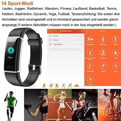 Willful Fitness Armband mit Pulsmesser,Wasserdicht IP68 Fitness Tracker Farbbildschirm Aktivitätstracker Pulsuhren Schrittzähler Uhr Smartwatch für Damen Herren - 3