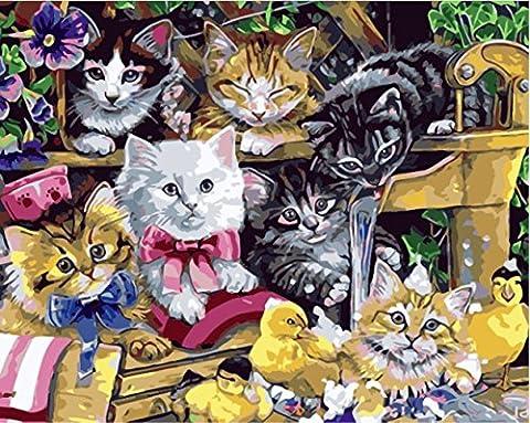 Obella Peinture par numéros Kits issu de la gamme Chats et petits canards Jaune 50x 40cm issu de la gamme Peinture par numéros numériques, peinture à l'huile, sans cadre