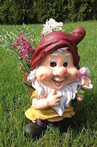 Unbekannt Design XL Zwerg mit Blumentopf 30 cm Hoch 50615-1 Deko Garten Gartenzwerg Figuren Dekoration