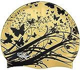 Moolecole Silicona Resistente Al Agua Suave Gorro De Natación Piscina De Verano Sombrero Gorro De Baño De Mar Productos De Baño Para El Pelo Largo Oro Mariposa