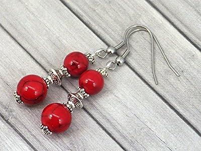 Boucles d'oreilles pendantes Thurcolas style chic et classique en turquoise composée rouge et acier inoxydable