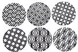 Giftale Keramik-Untersetzer für Getränke, 10,2 cm, geometrisches Muster, Steingut, mit Korkunterseite, 6 Stück