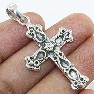 925 Sterling Silver Religious Cross Pendant Necklace