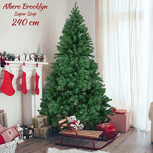 BAKAJI Albero di Natale 240 CM Super Folto Realistico Colore Verde 1200 rami Brooklyn Christmas Base a Croce in Ferro