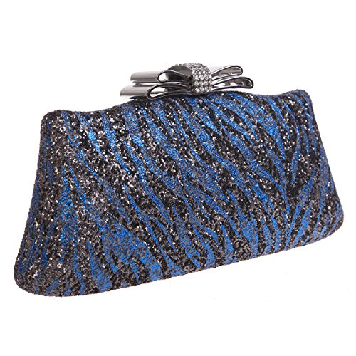 Bonjanvye Glitter Zebra Pattern Bow Clutch Purses and Evening Bags Gold Blue