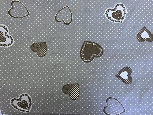 Euronovità Srl Telo arredo copridivano copriletto copritutto Cuore Grigio Pois Bianco 170x280 cm in Cotone granfoulard 100% Made in Italy Produzione Propria EURONOVITA'