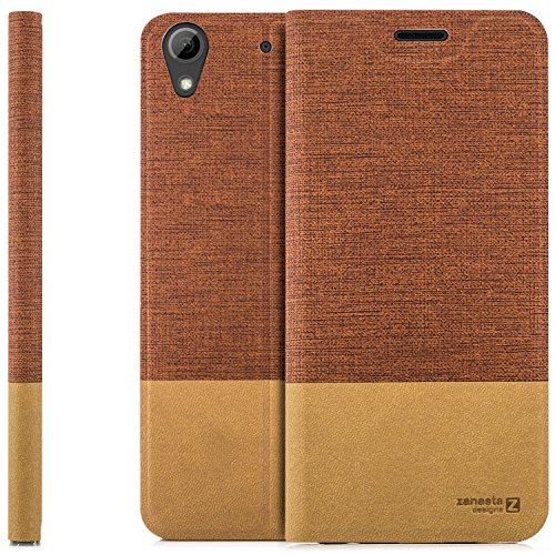 zanasta Tasche kompatibel mit HTC Desire 628 Dual SIM | Hülle Flip Case Slim Schutzhülle Handytasche mit Kartenfach, Standfunktion | Rotbraun