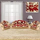 The Intellect Bazaar 450 TC Velvet Sofa Cover Set (6 Pieces)-5 Seater Set,Red
