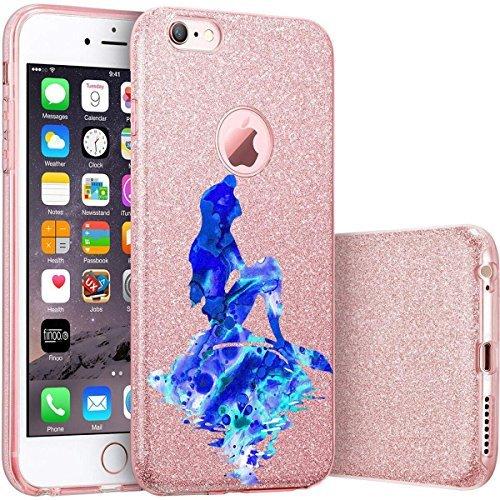 finoo | iPhone 6 Plus / 6S Plus Pinke bedruckte Rundum 3 in 1 Glitzer Bling Bling Handy-Hülle | Silikon Schutz-hülle + Glitzer + PP Hülle | Weicher TPU Bumper Case Cover | Queen Black Meerjungfrau Blau