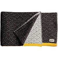 Buh!-Coperta in puro cotone lavorato a maglia, design B And W Mostaza Collection, 60 X 80 Cm)