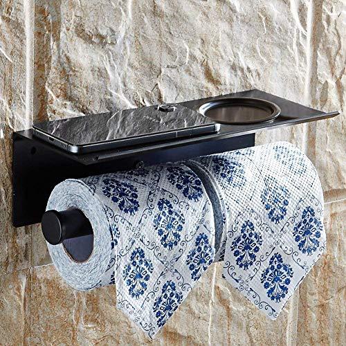 GeeRo Doppel-Toilettenpapierhalter, Seidenpapierrollenhalter SUS304 Edelstahl Bad Dual Papierspender mit Handyablage Ablage Rack matt schwarz Ipad Dual-arm
