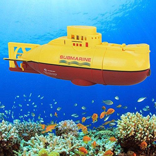 UxradG U-Boot-Spielzeug, Radio Control RC Bereit, Mini-U-Boot-Schnellboot-Modell zu Laufen Hoch angetriebenes 3.7V großes Modell RC-U-Boot-Spielzeug im Freien(Yellow)