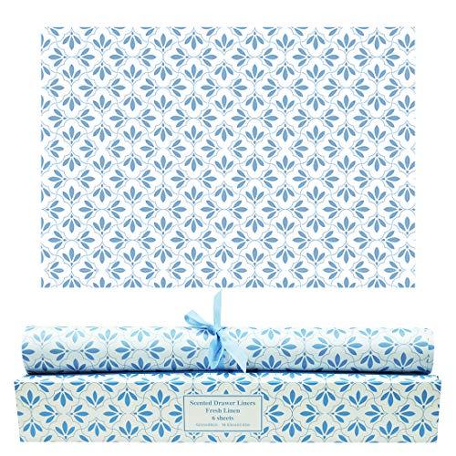 LA BELLEFÉE Duftendes Schrankpapier Schubladeneinlagen Perfekt für Kommode, Kleiderschrank, Schubladen, Regalen, 6 Blatt cm. 42 x 58 (Fresh Linen) -